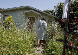 Suffering from deferred maintenance, foreclosed properties often need a lot of rehab work. This Oakland house was in the foreclosure process last year. Brant Ward/The Chronicle